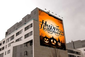 Spectacular Halloween Party Billboard PSD Mockup