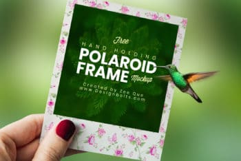 Beautiful Polaroid Photo Frame PSD Mockup