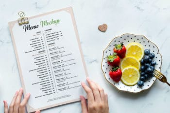 Photorealistic Restaurant Menu Card PSD Mockup