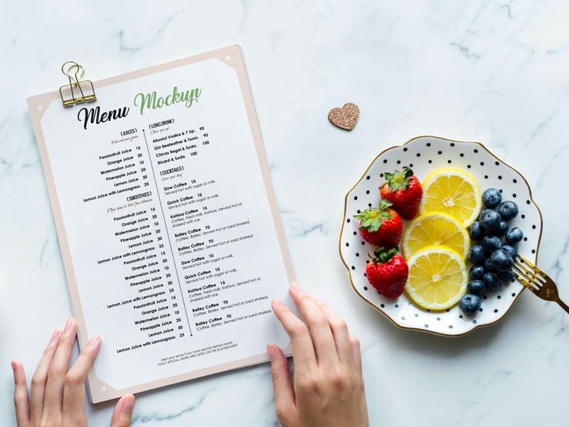restaurant menu card psd