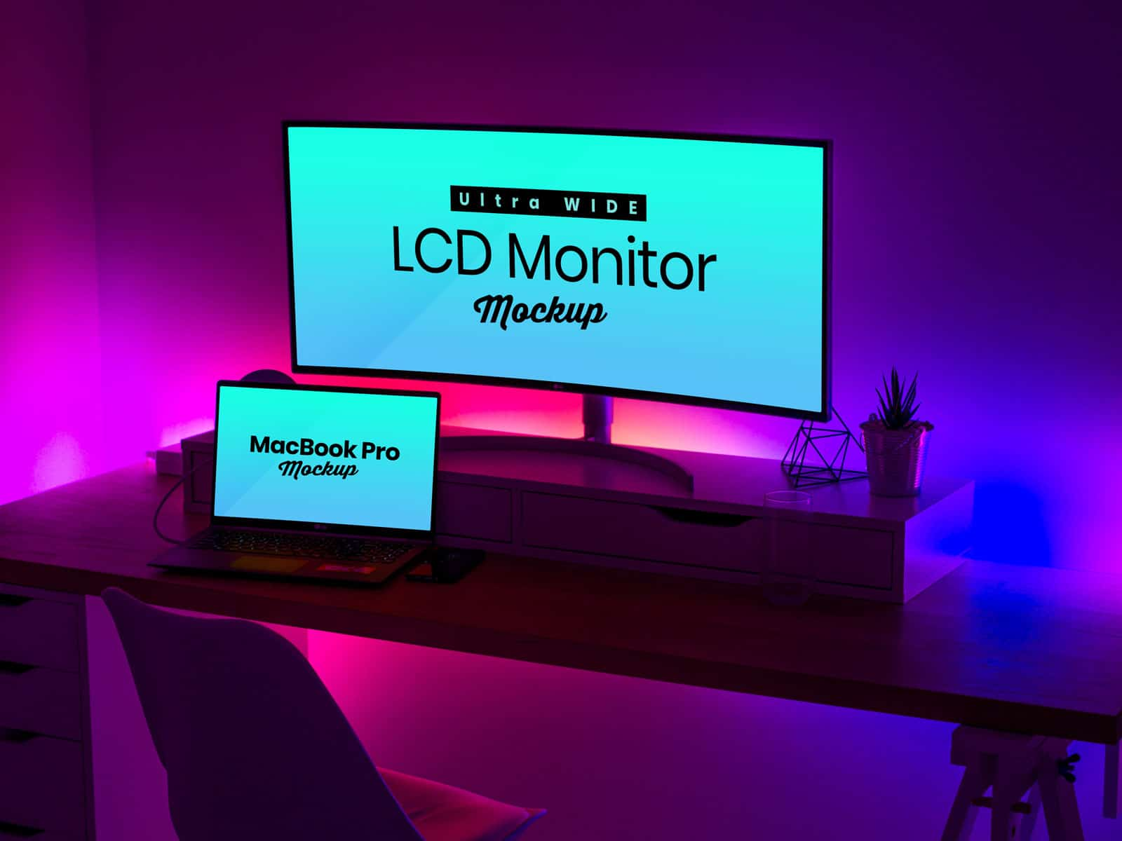 widescreen LCD Monitor & MacBook Pro PSD mockups