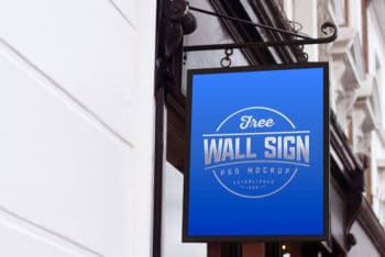 Wall Mounted Sign Board PSD Mockup for Free