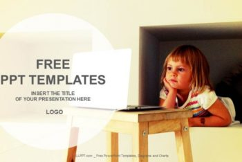 Free Laptop Plus Little Girl Powerpoint Template