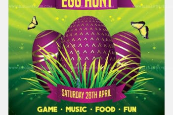 Free Easter Egg Hunt Promotional Flyer PSD Mockup – Available in Print -ready Format