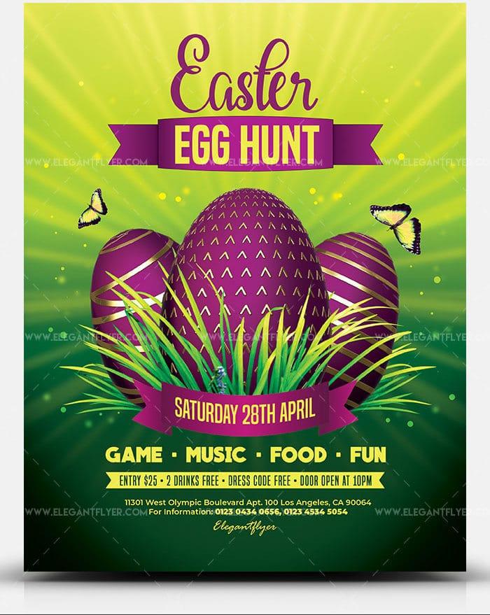 Easter Egg Hunt Promotional Flyer PSD Template
