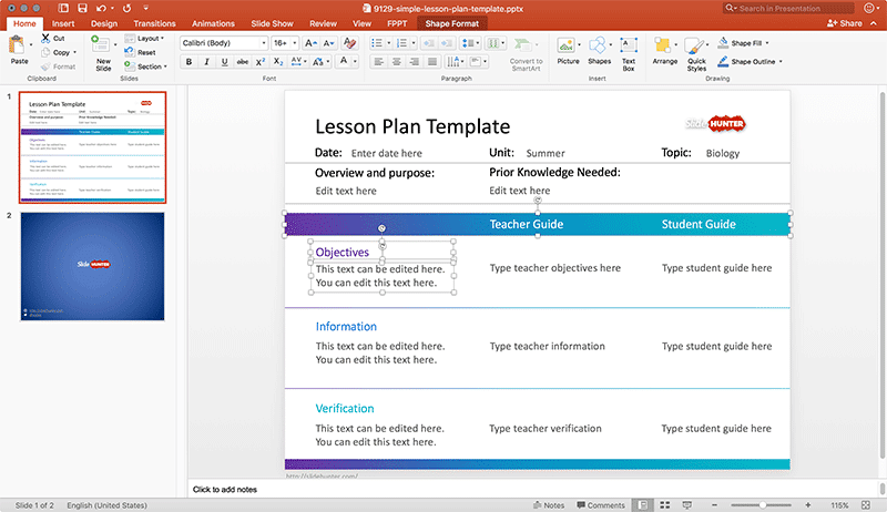 Simple Lesson Plan
