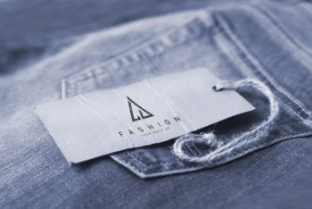 Free Jeans Tag PSD Mockup for Designing Jeans & Other Apparel Tags