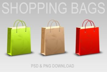 Customizable Shopping Bag Collection PSD Mockup for Free