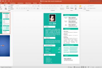 Free Single Slide Resume Powerpoint Template