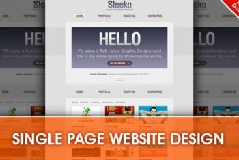 Single Page Website Design PSD Mockup for Free