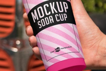 Free Soda Cup PSD Mockup – Available with a Photorealistic Appearance