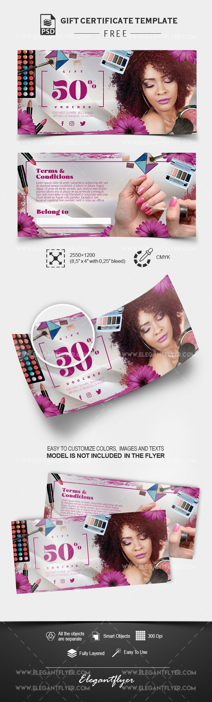 Free Gift Voucher for Cosmetic Shop PSD Mockup