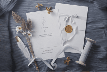 Wedding Invitation Card PSD Mockup Scene for Designing A Beautiful Card for a Wedding