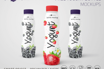 Colorful Yogurt Bottle PSD Mockup for Designing Eye-catchy Yogurt Bottles Easily