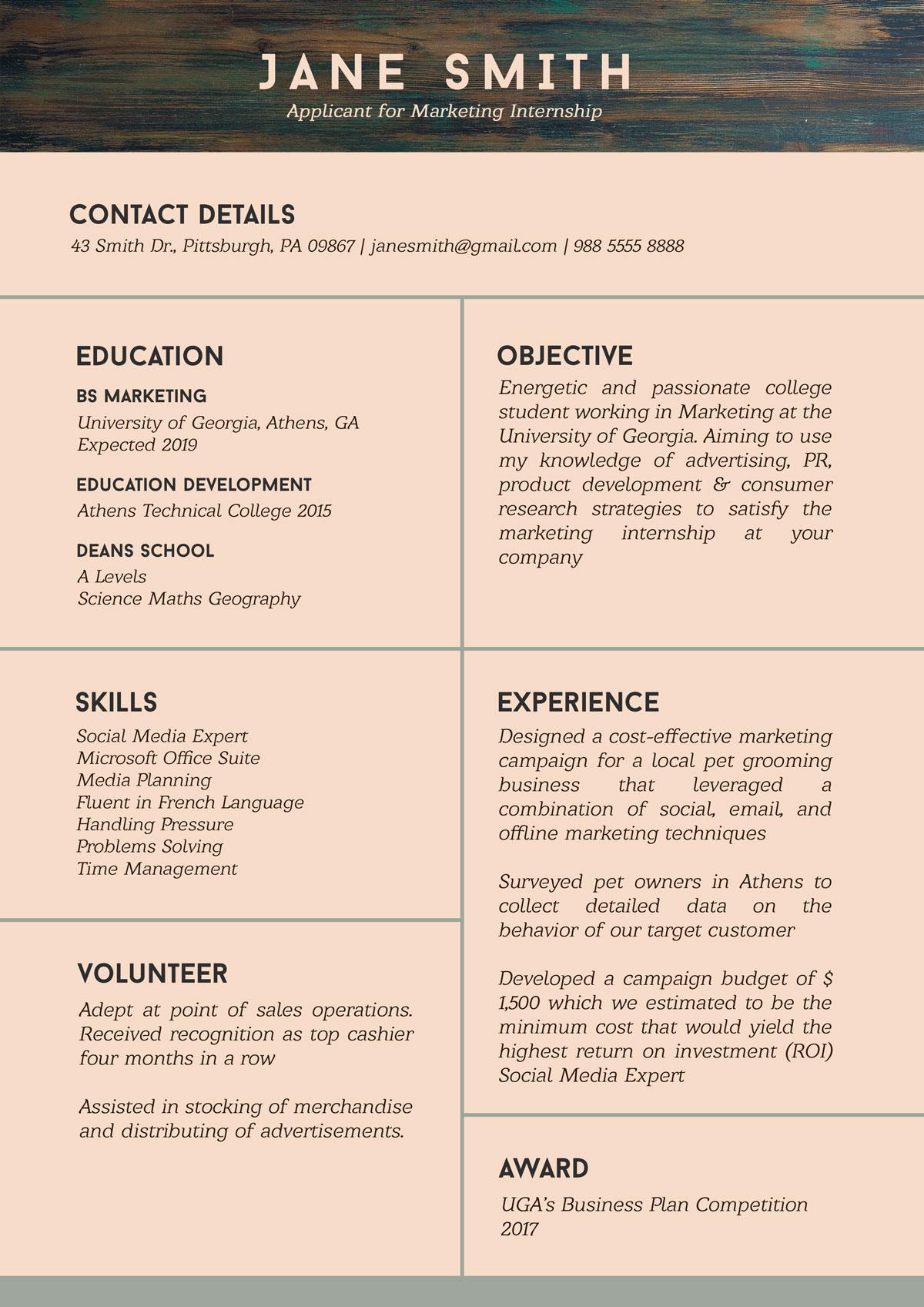 resume for internship students psd mockup