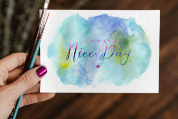 Watercolor Painted Greeting Card PSD Mockup for Free
