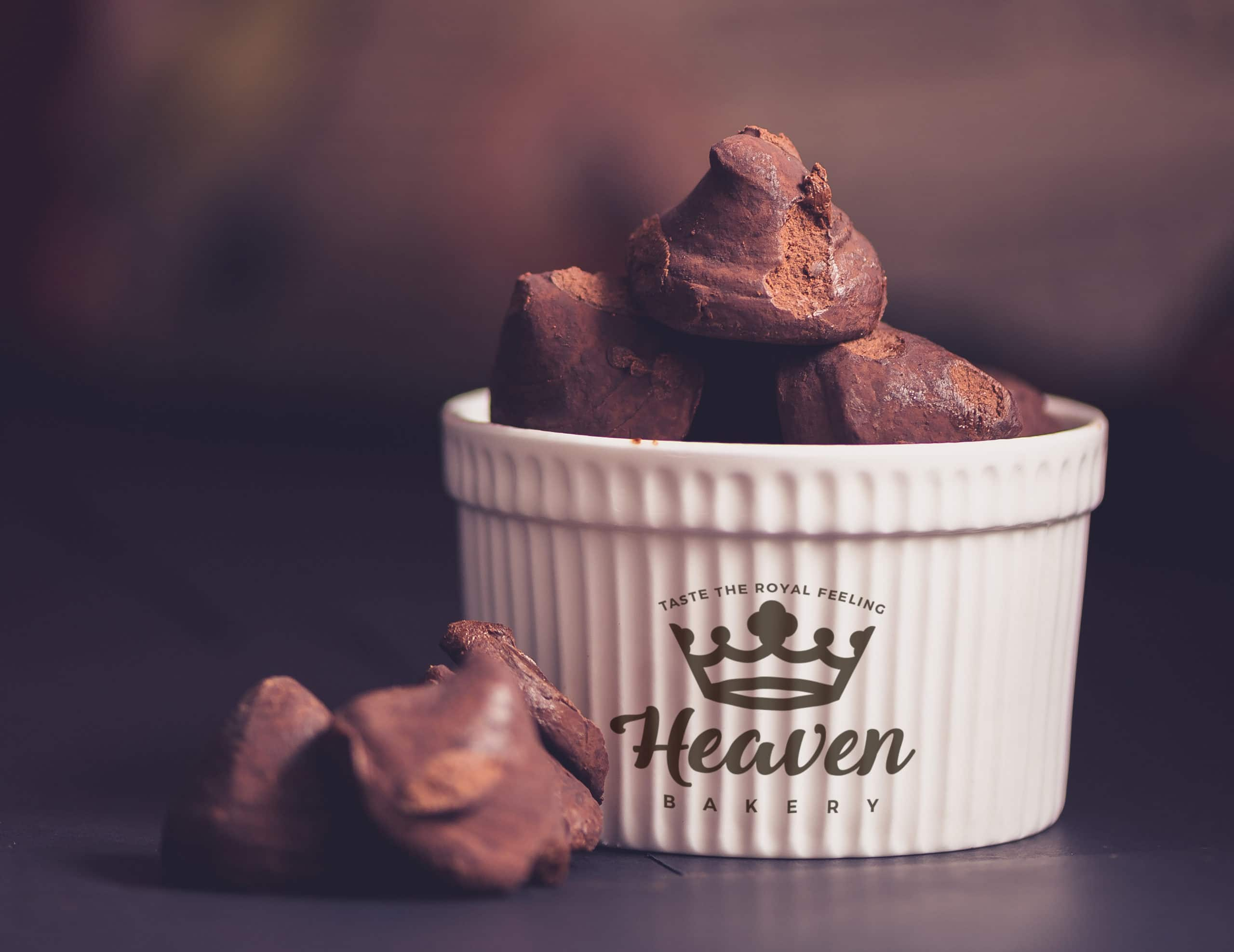 porcelain container with chocolate truffles PSD mockup