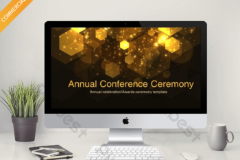 Free Gold Conference Concept Powerpoint Template