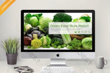 Free Green Natural Veggies Powerpoint Template