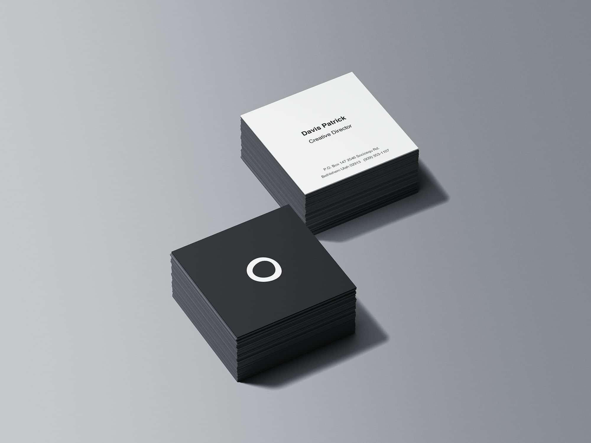 Square Business Card Stacks PSD Mockup