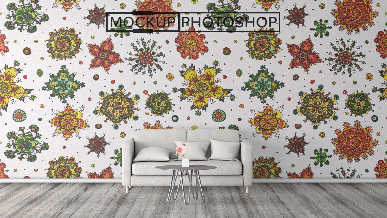 Full Wall Sticker PSD Mockup