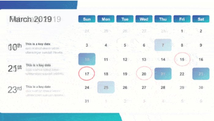 2019 Calendar Map