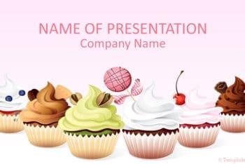 Free Pretty Cupcake Art Powerpoint Template