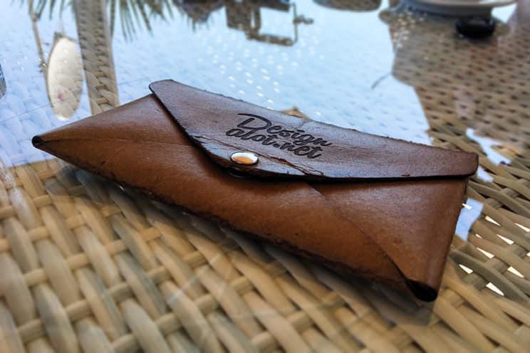 Engraved Leather Envelope PSD Mockup