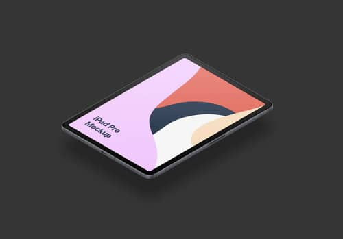 iPad Pro isometric design PSD mockup