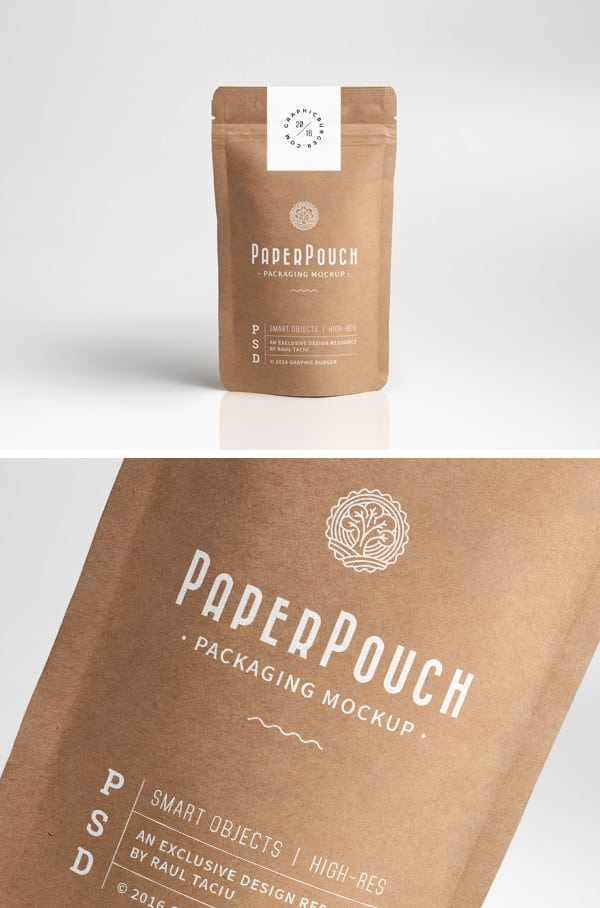 Paper pouch PSD mockup