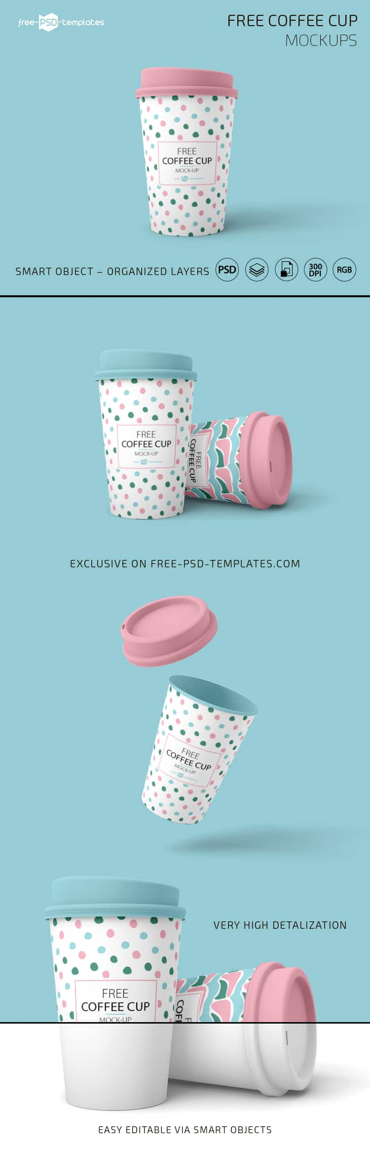 free coffee cup psd mockup set design