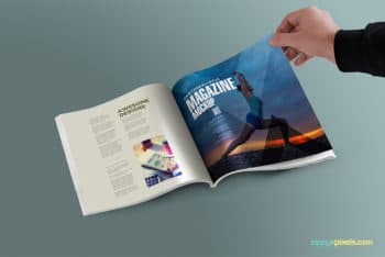 Square Magazine Realistic PSD Mockup to Showcase Your Presentation