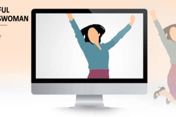 Free Businesswoman Success Slides Powerpoint Template