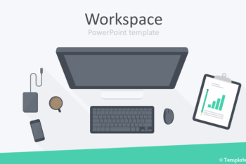 Free Top View Workspace Powerpoint Template