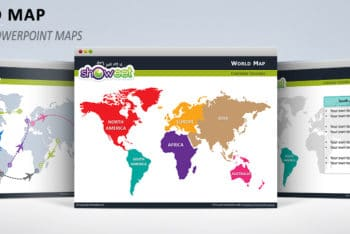 Free Colored World Map Slides Powerpoint Template