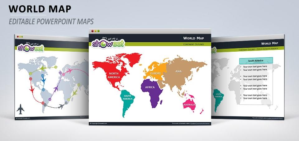 Colored World Map Slides