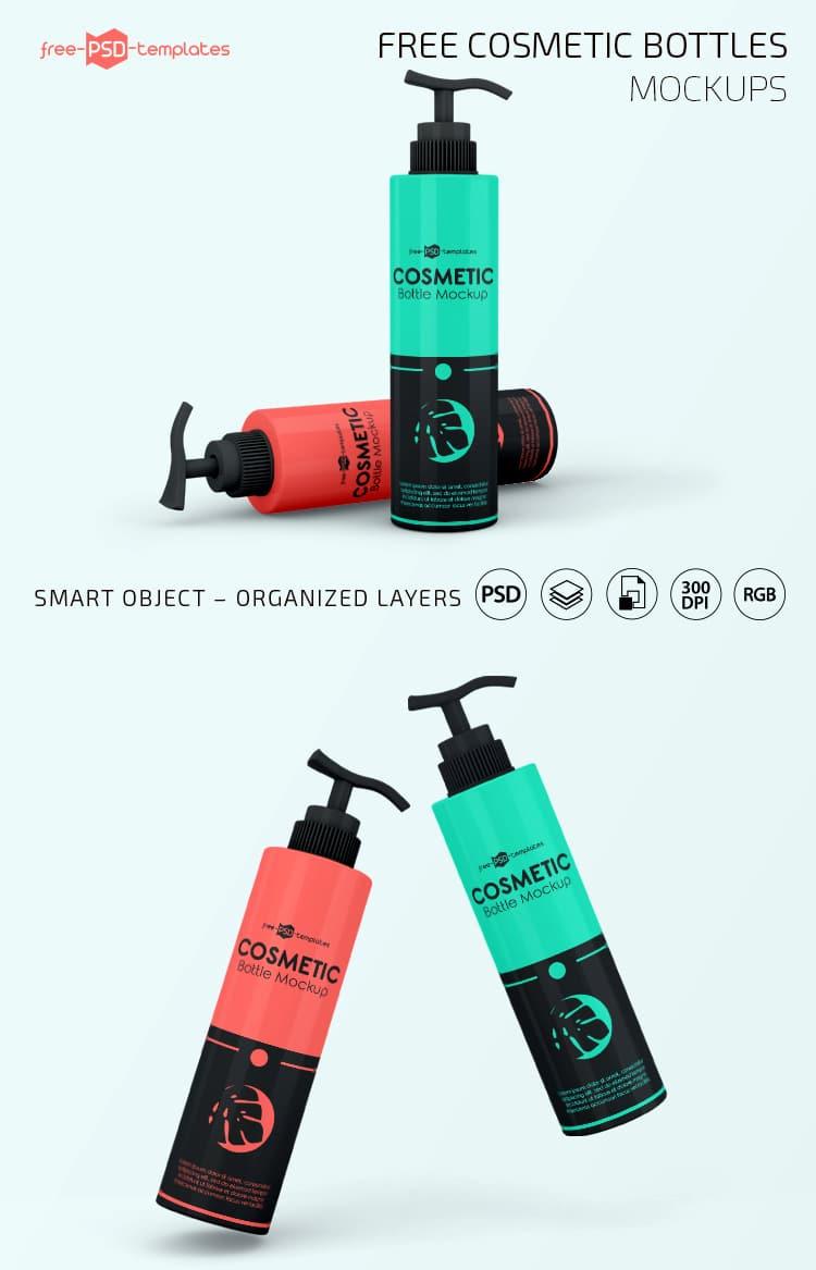 Cosmetic Bottles PSD Mockup Free Download - DesignHooks