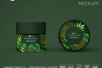 Free Round Shaped Box PSD Mockup for Presenting Excellent Packaging Design