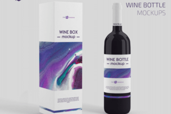 Wine Bottle Box Packaging PSD Mockup for Free