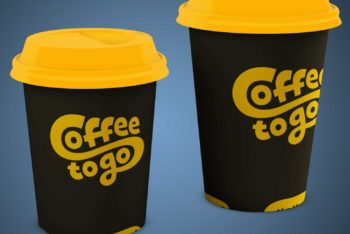 Covered Coffee Cup PSD Mockup for Designing Useful Coffee Cups Designs