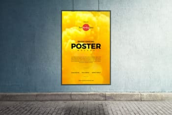 Hanging Poster PSD Mockup for Free
