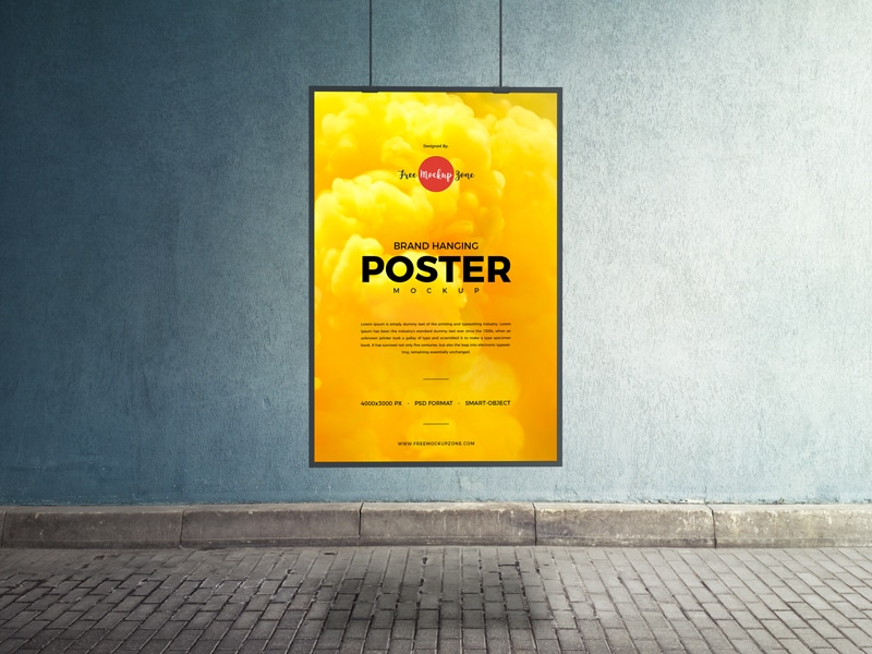 Free Hanging Poster PSD Mockup Template