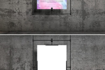 Download Concrete Wall Hanging Poster PSD Mockup