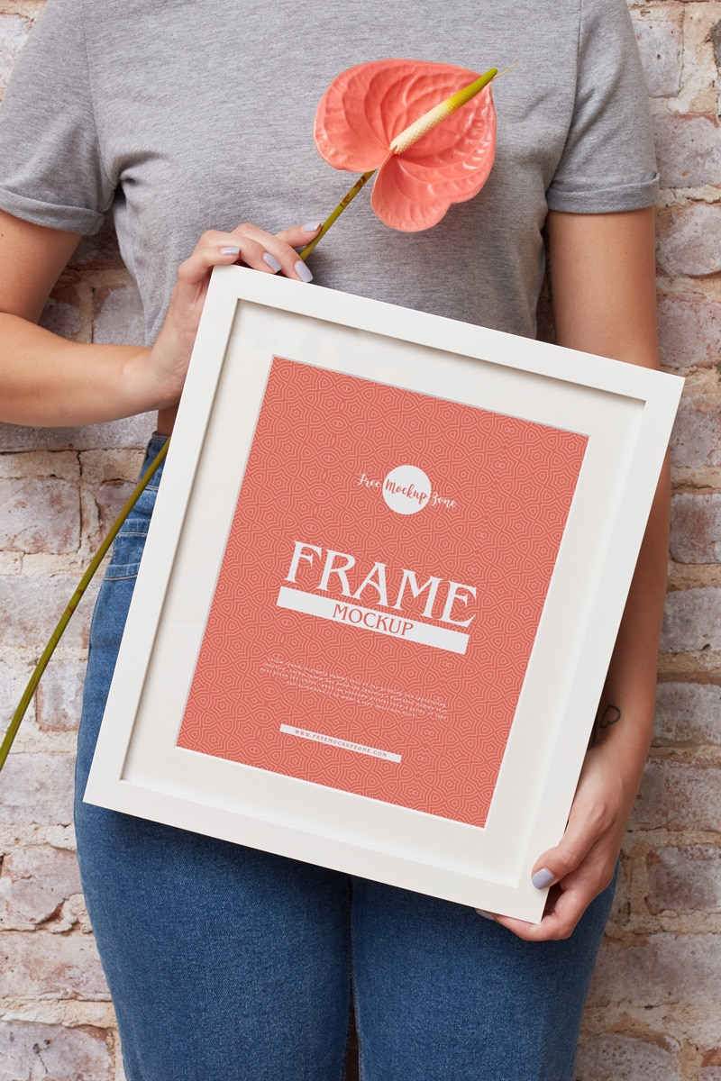 Girl Showing Frame PSD Mockup