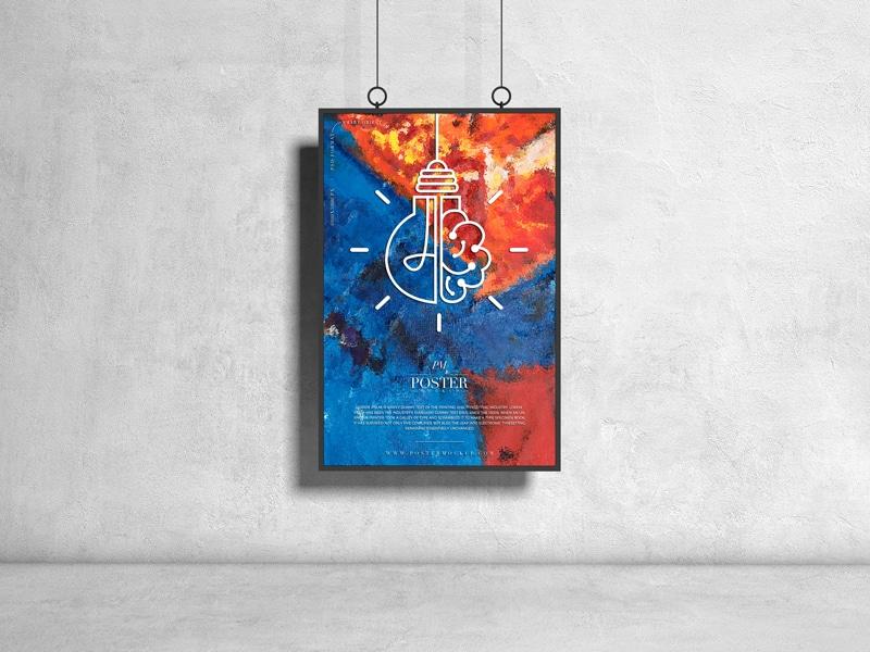 Hanging poster design PSD mockup