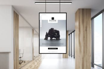 Use Indoor Poster PSD Mockup to Design Posters for Commercial Spaces
