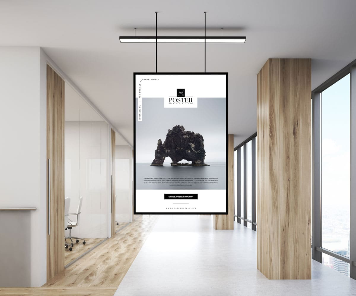 Free Indoor Poster PSD Mockup Template