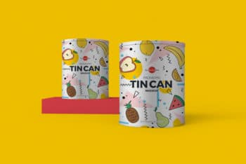 Free Tin Can PSD Mockup for Customized Packaging Designs