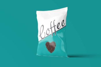 Colorful Coffee Pouch PSD Mockup for Showcasing Your Brand & Design with Photorealistic Effects