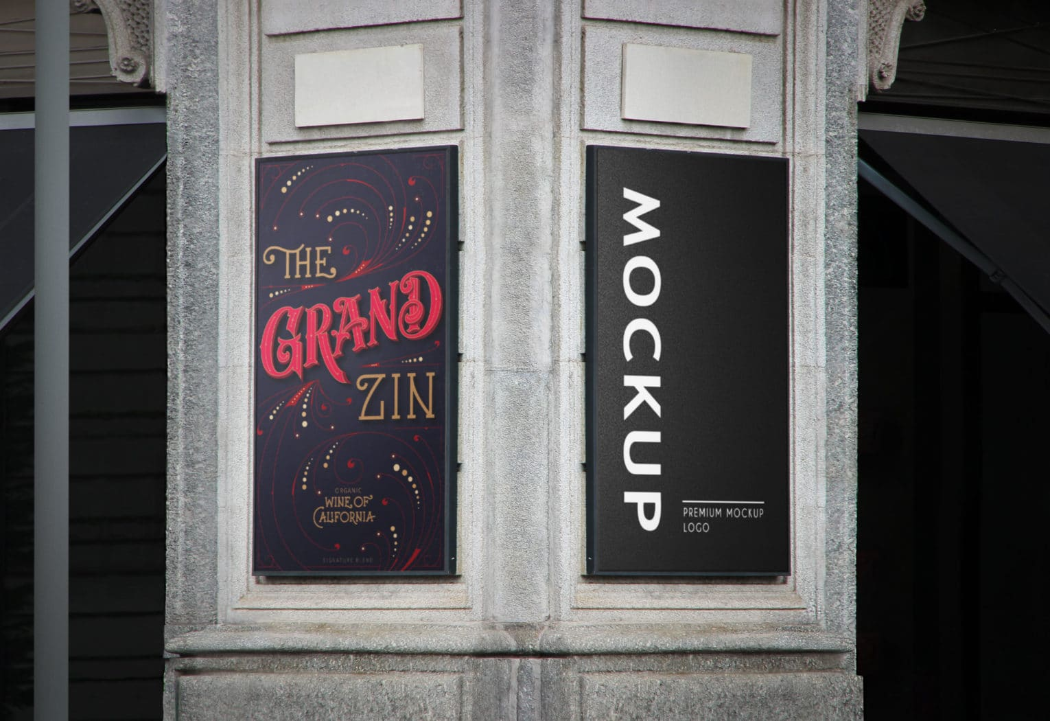 Wall Two Sided Rollup Banner PSD Mockup
